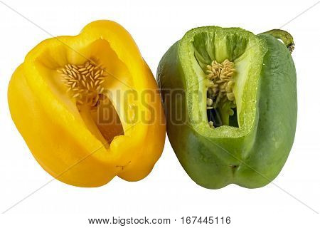 Sliced Yellow And Green Peppers Isolated On White Background