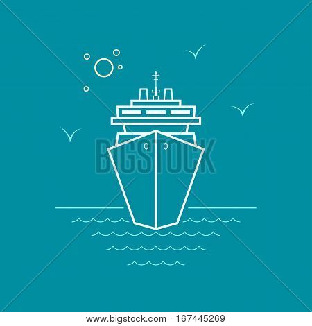 Cruise Ship, Marine Emblem with Passenger Ship or Carrier ,Line Style, Logo Design Element