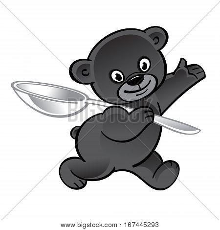 Walking funny teddy bear with big spoon
