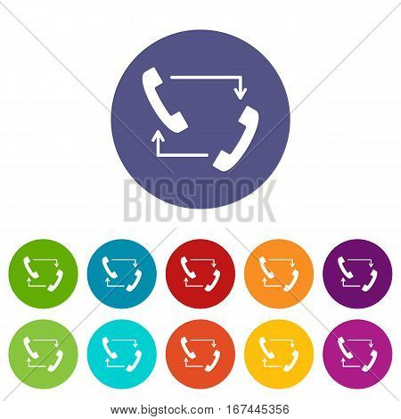 Handsets with arrows set icons in different colors isolated on white background