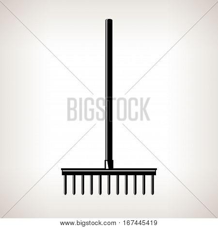 Rake, a Bow Rake for Soil and Rocks, Silhouette Garden Rake on a Light Background ,Agricultural Tool ,Garden Equipment ,Black and White Illustration