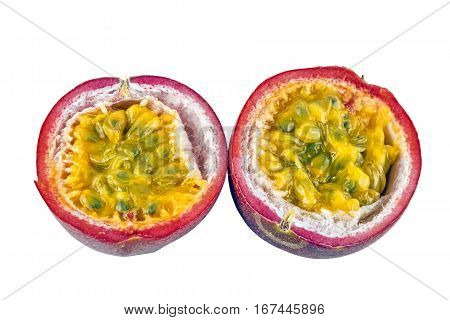 Halved Passion Fruit Seed And Texture On White