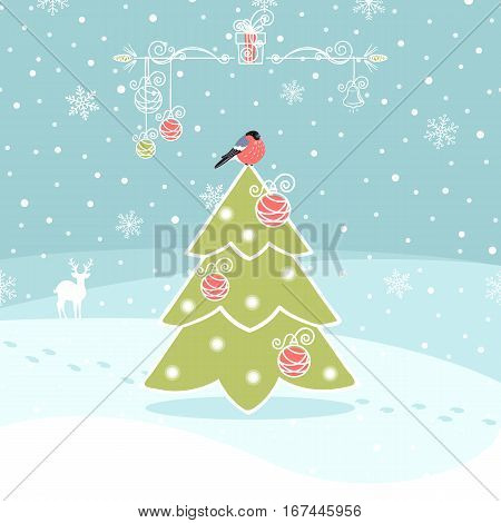 winter background with Christmas tree and bullfinch