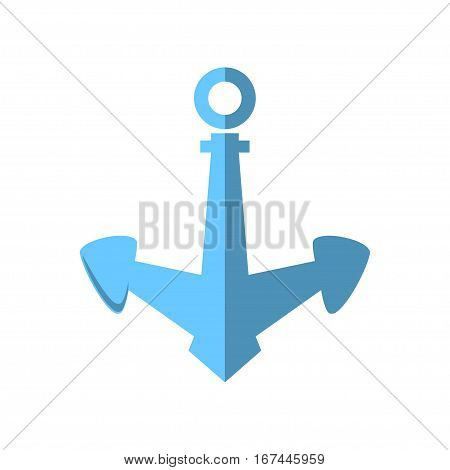 Blue Anchor Isolated on White ,Flat Design ,Ship Equipment