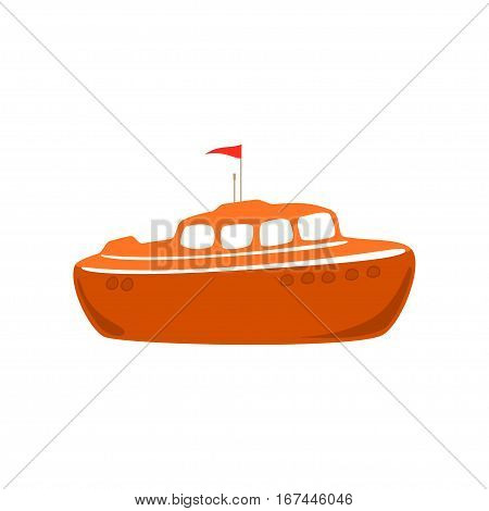Orange Lifeboat Isolated on White, Marine Rescue Vessel, Flat Design