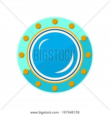 Porthole, Shipboard Window, Round Ship Porthole Isolated on White