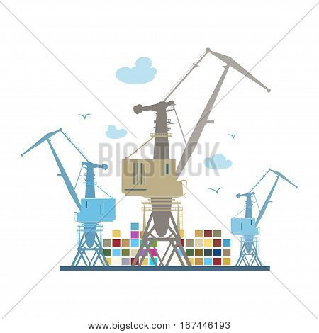 Cargo Cranes and Containers, Crane at the Port Isolated on White,  International Freight Transportation