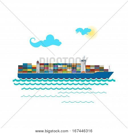 Cargo Container Ship Isolated on White ,Industrial Marine Vessel with Containers on Board ,International Freight Transportation