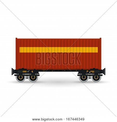 Red Container on Railroad Platform ,Railway and Container Transport, Platform with Container Isolated on White