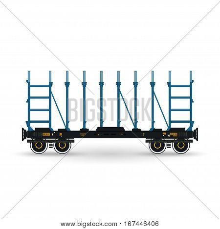 Railway Platform Isolated on White, Railway Transport Platform for Transportation of Bulk Cargo and Long Cargo and for Timber Transportation