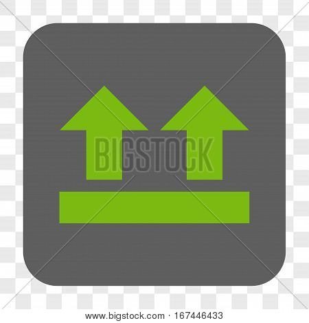 Bring Up interface toolbar button. Vector icon style is a flat symbol inside a rounded square button light green and gray colors chess transparent background.