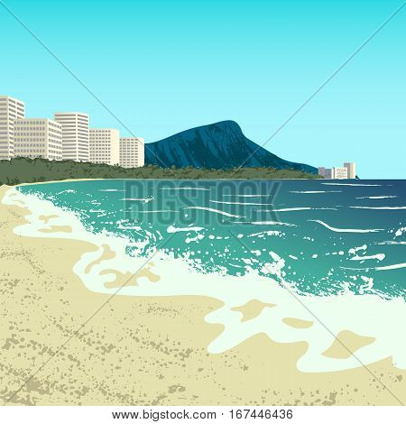 Illustration of Waikiki beach of Oahu island, Hawaii, USA