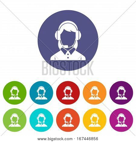 Business woman with headset set icons in different colors isolated on white background