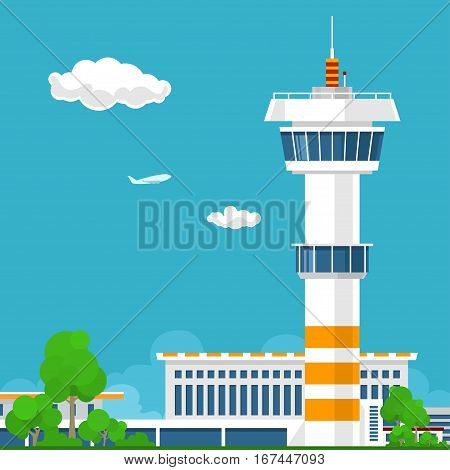 Airport Terminal, Airport with Control Tower, Travel and Tourism Concept