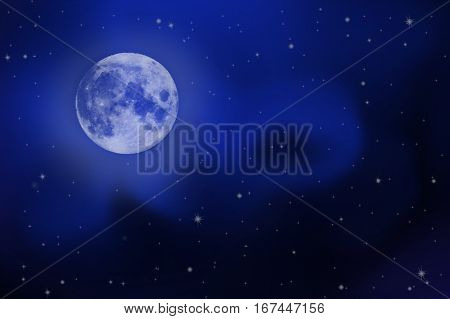 bright night sky with a white full moon, stars and Milky Way