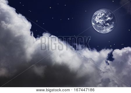 bright night sky with a white moon, stars and clouds
