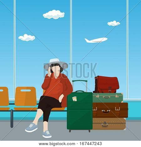 Woman with Luggage Talking on the Phone in a Waiting Room, Waiting Hall with Woman, Travel and Tourism Concept, Flat Design