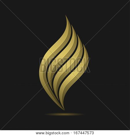 Golden Fire logo template. Metal gas or oil company emblem, Petroleum sign