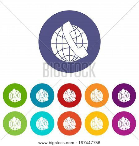 Handset and globe set icons in different colors isolated on white background