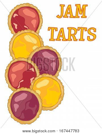an illustration of colorful jam tarts with pastry crusts on a white background