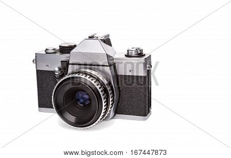 35 mm film old camera isolated on white background with lens.