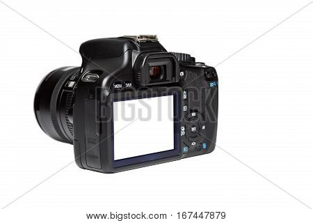 Screen rear view camera isolated on white background.