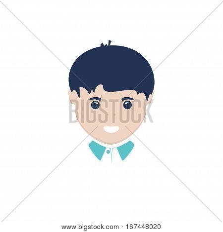 European Boy Face, Boy Isolated on White Background ,Illustration