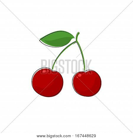 Red Berry Cherry, Fruit Cherries Isolated on White, Prunus Avium ,Wild  Sweet Cherry