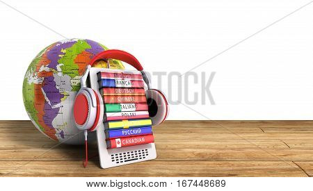 E-boock Whith Globe Audio Learning Languages 3D Render Success Knowlege Concept
