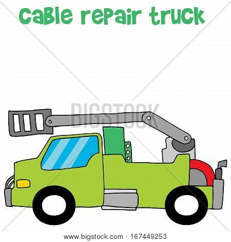Vector of cable repair truck collection stock