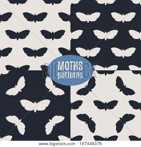 Dead head moths silhouettes patterns. Modern vector backgrounds