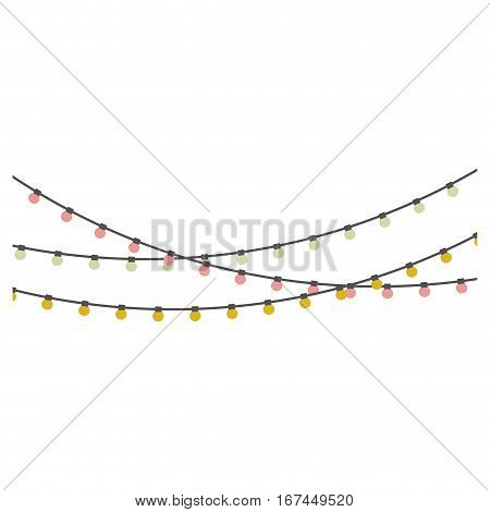 pastel color extension cord lights bulb hanging vector illustration