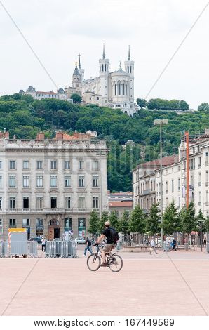 Lyon, Rhone-Alpes, France - May 19: View on Basilica of Notre Dame de Fourviere from The Bellecour square