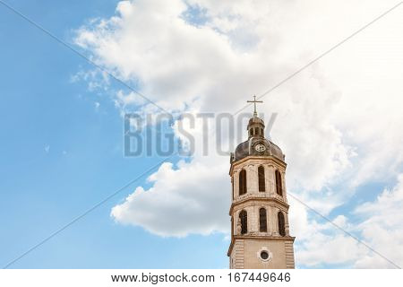 Lyon, France - MAY 19: Bell Tower of Charity near The Place Bellecour