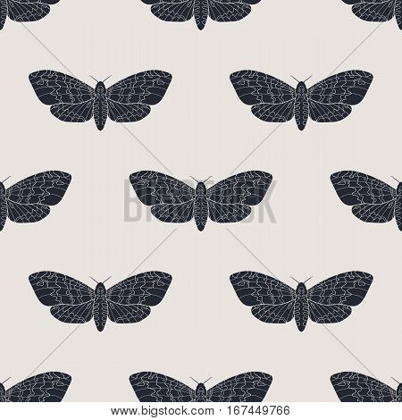 Line art dead head moths pattern. Modern vector background