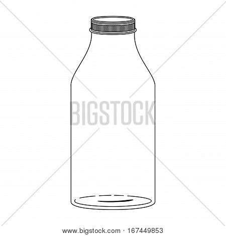 silhouette glass bottle with lid vector illustration