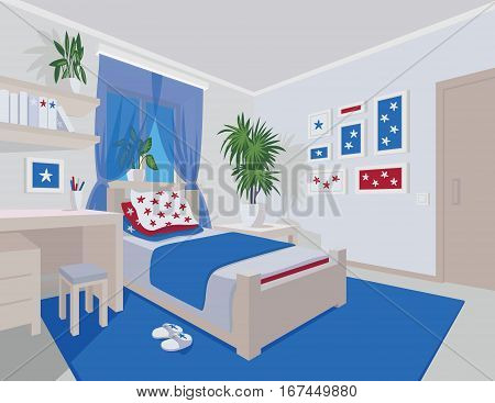 Colorful interior of bedroom in flat cartoon style. Vector illustration of teen bedroom with window, desk, bed, star arts in frames and houseplants. Scene for your artworks, illustrations and design.
