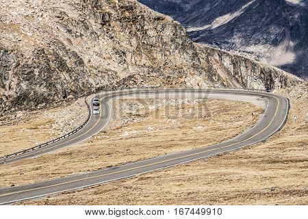 A Hairpin turn on a mountain road