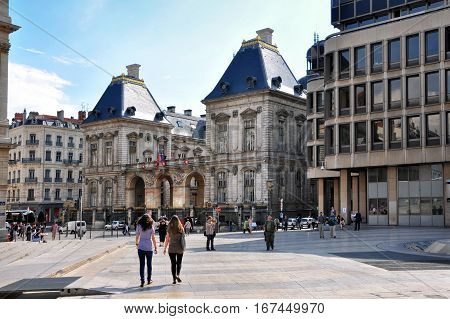 LYON, FRANCE - MAY 19: Louis Pradel square. Opera, old and new town hall