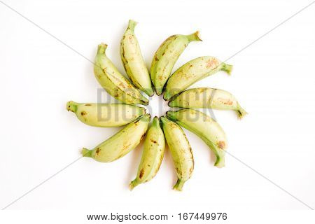 Arranged bananas. Flat lay top view. Creative food concept