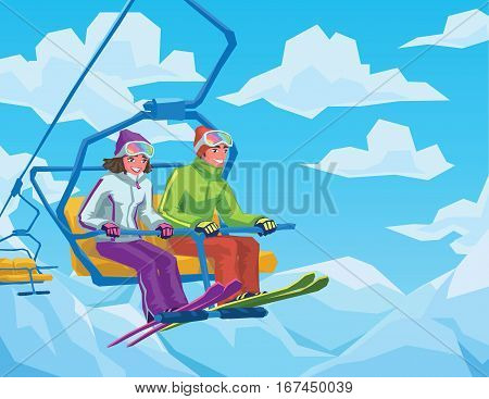 Skiers riding on the lift at the ski resort. Happy couple boy and girl sitting on the ski elevator to the top of the mountains. Vector illustration for your artwork, design, website for ski resort, winter vacation, winter active sport.