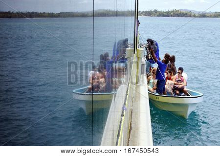 Tourists Arrive To Resort On One Of The Yasawa Islands Fiji