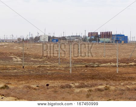 Gas pipeline compressor station on the line.