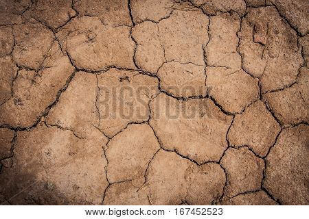 Cracked dirt caused by a drought, detail shot