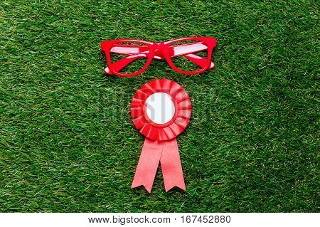 Style Red Glasses And Award On Green Grass Background,
