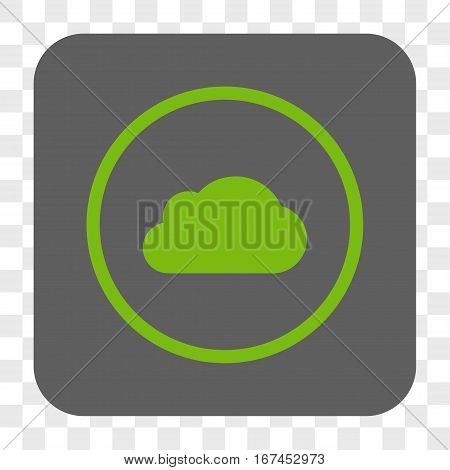 Cloud interface toolbar button. Vector icon style is a flat symbol inside a rounded square button light green and gray colors chess transparent background.