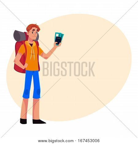 Young traveler, backpacker, hitchhiker standing and holding tickets and passport, cartoon illustration on background with place for text. Young man with backpack, passport and tickets ready for flight