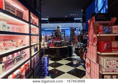 HONG KONG - CIRCA NOVEMBER, 2016: inside Victoria's Secret store. Victoria's Secret is an American designer, manufacturer and marketer of women's premium lingerie, womenswear and beauty products.