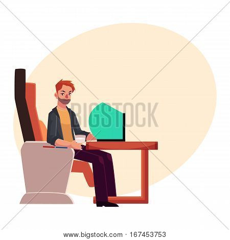 Young unshaved man working on his laptop in business class airplane seat, cartoon vector on background with place for text. Male passenger, young man seating in airplane business class with laptop