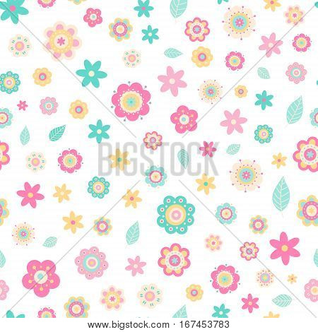 Flat flowers. Vector seamless pattern with cute flat flowers. Pastel colors - light pink; yellow; green; white. Nice baby background. Spring season.